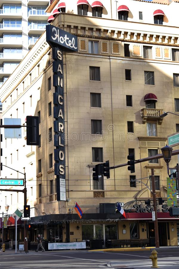 The San Carlos Hotel in Phoenix Arizona. The San Carlos Hotel in downtown Phoenix Arizona. Built in 1928, it was state of the art and the first building in the stock images