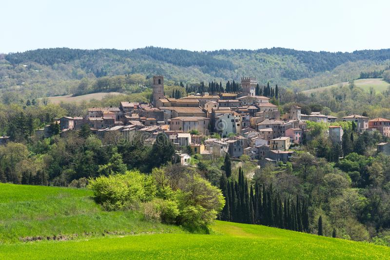 San Casciano dei Bagni, one of the most beautiful villages of Italy. Beautiful areal landscape of a small rural village on the stock image
