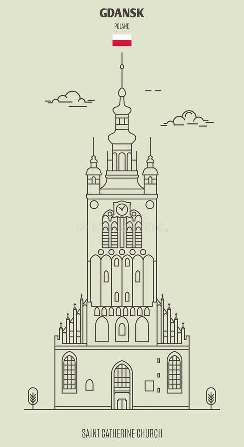 San Catherine Church a Danzica, Polonia Icona del punto di riferimento illustrazione vettoriale