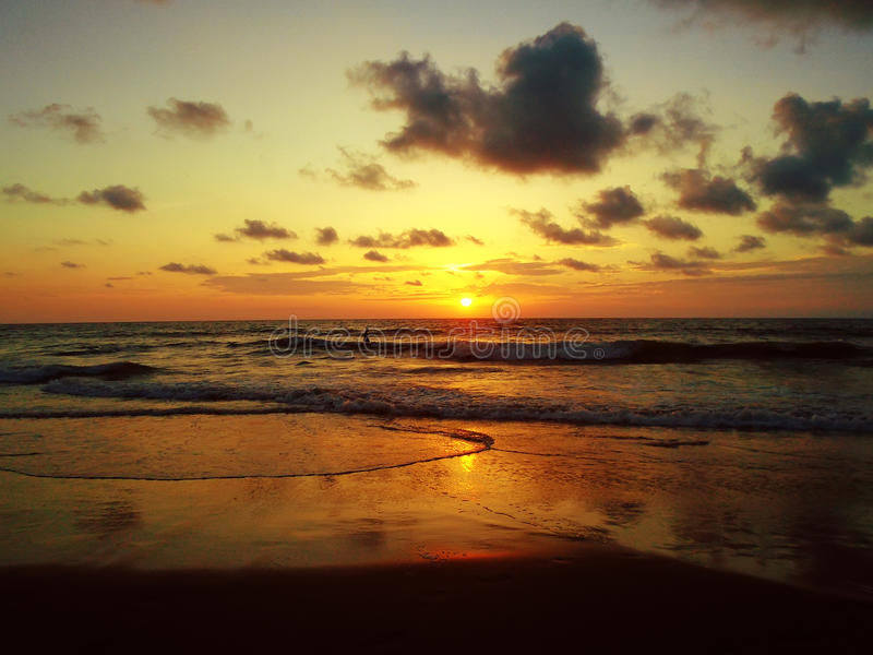 San Clemente beach in Ecuador. Sunset in San Clemente beach in Ecuador stock photos