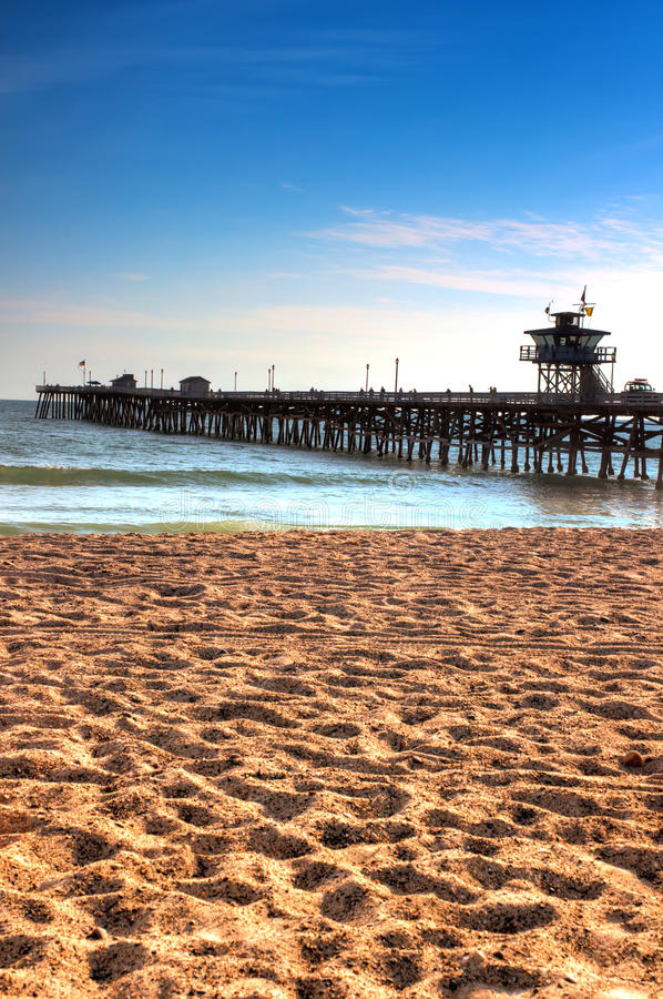 San Clemente Beach Pier. Pacific Ocean, Southern California stock photos