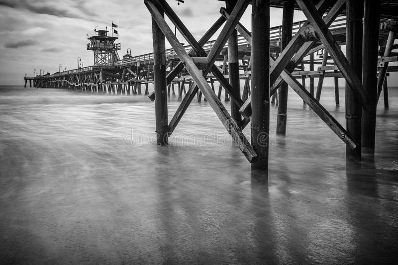 San Clemente Beach Pier California. Black and White Long Exposure next to San Clemente California California Pier royalty free stock photo