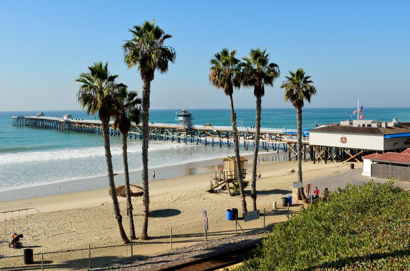View of San Clemente pier and T-Street beach in San Clemente, Ca stock photo