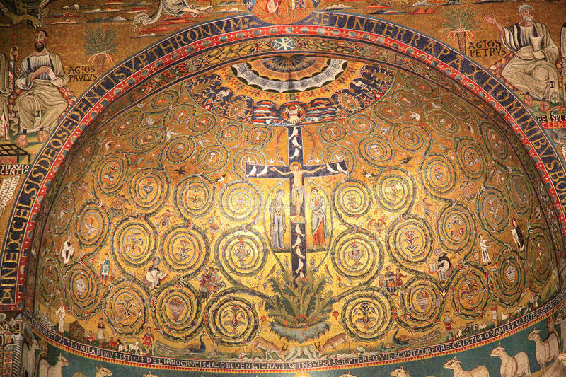 San Clemente church mosaic, Rome, Italy stock image