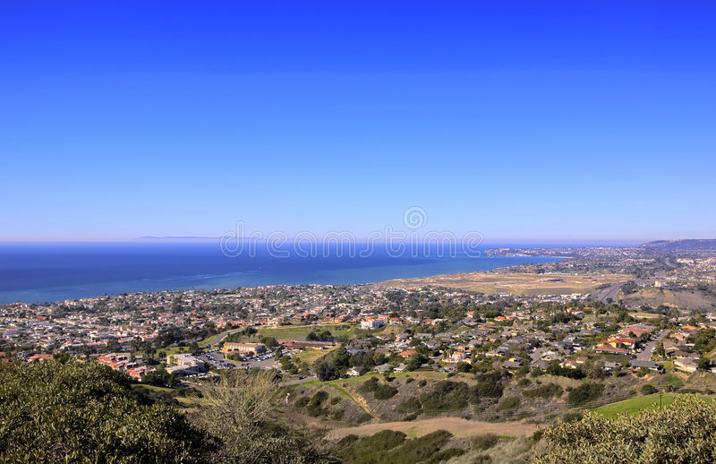 San Clemente Hills looking towards Dana Point. With Catalina Island in the Background stock photography