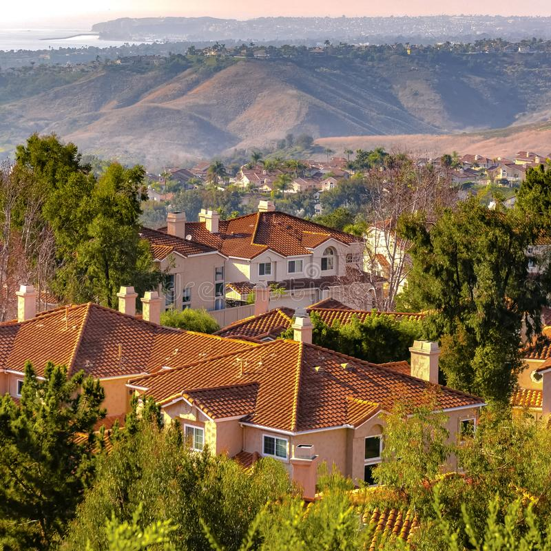 San Clemente homes with view of rolling hills stock images