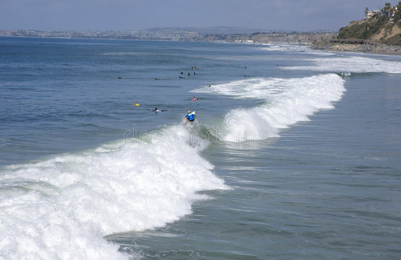San Clemente looking towards Dana Point. During a Surf Contest royalty free stock photos
