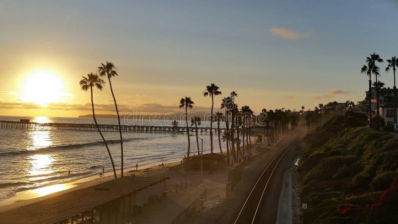 San Clemente Pier bei Sonnenuntergang stockfotografie