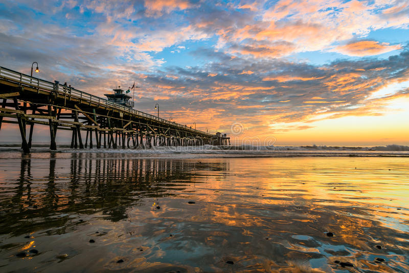 San Clemente Pier with Cloud Reflections stock images