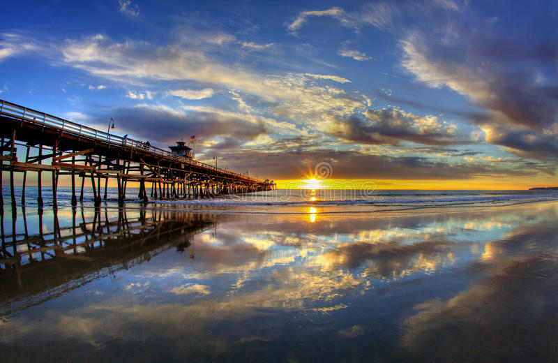 San Clemente Pier Summer Sunset. The San Clemente Pier at Sunset during Summer royalty free stock image