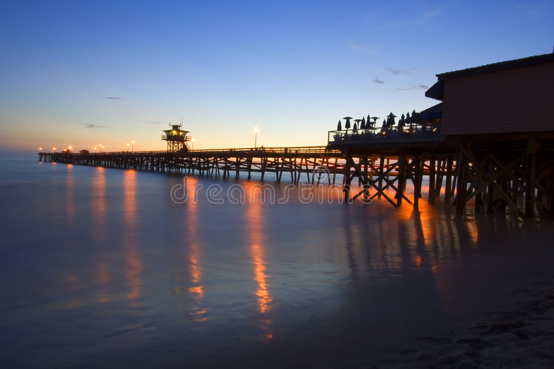 San Clemente Pier at sunset - full royalty free stock images