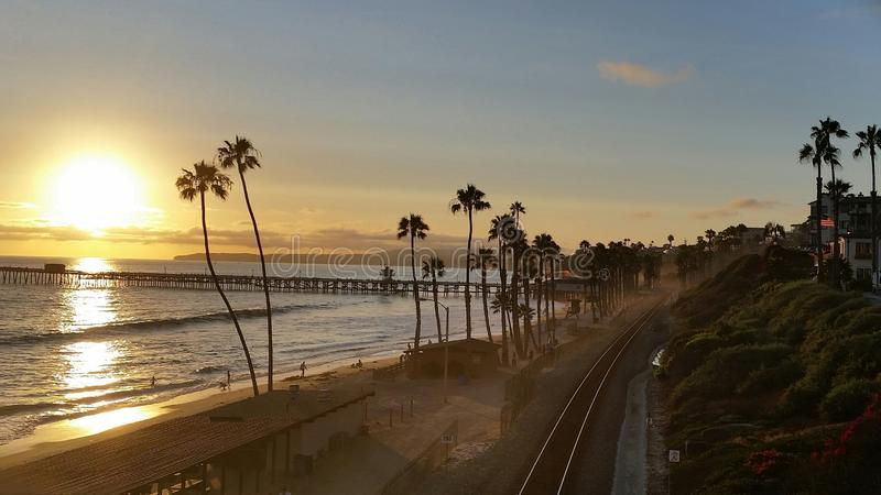San Clemente Pier at Sunset. View of the San Clemente Pier at sunset stock photography