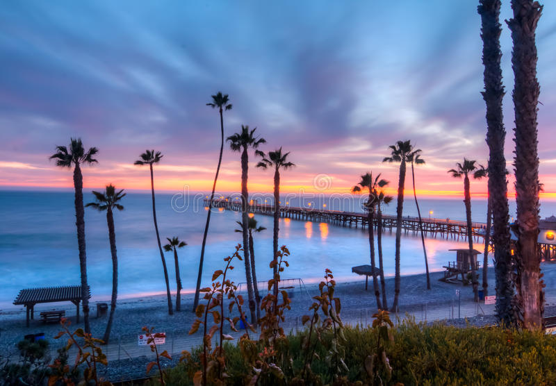 San Clemente Sky. Pink, purple, orange, and blue sky over at san clemente pier stock photos