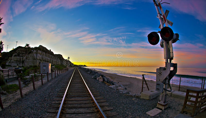 San Clemente State Park at Sunrise Wide Angle. Calafia Beach in San Clemente State Park stock photography