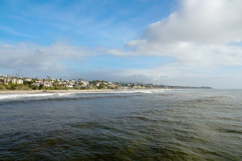 San Clemente strand och kustlinje för solnedgångtid arkivfoton