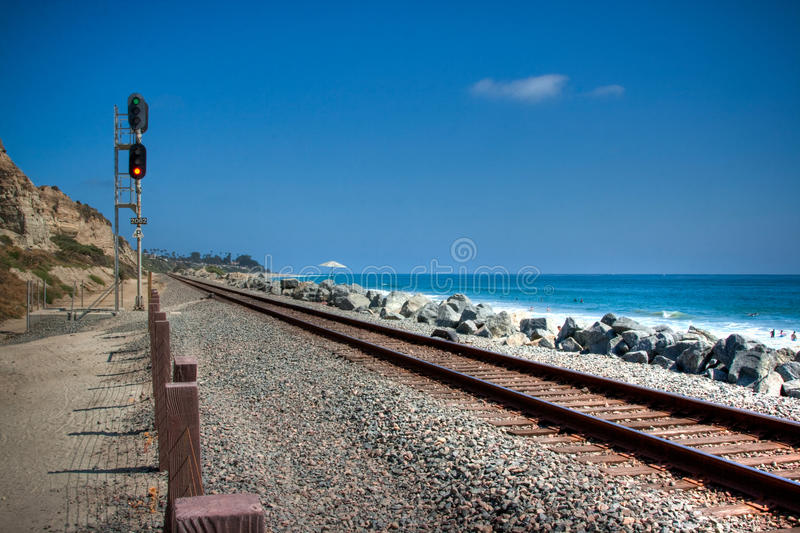 San Clemente Train Tracks. The Amtrak train tracks in San Clemente, California royalty free stock photo