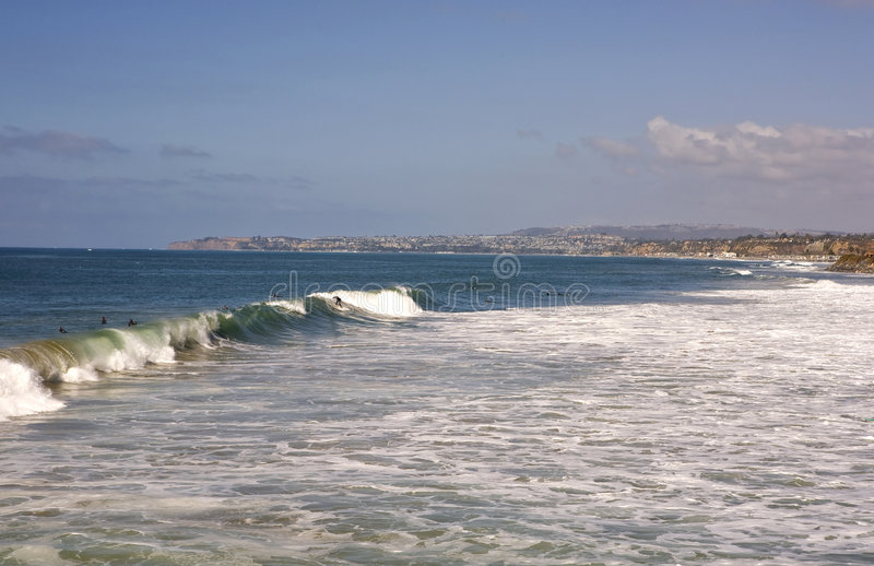 San Clemente Waves. With Dana Point in the Background during a Surf Contest stock images