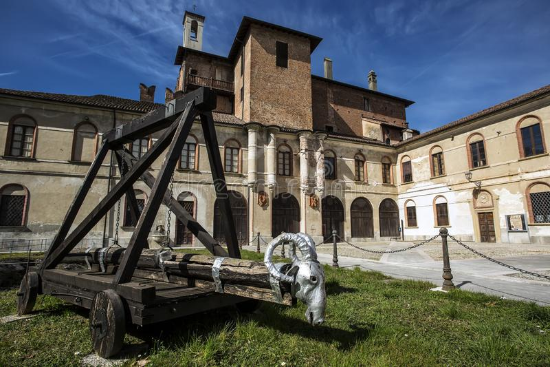 San Colombano al Lambro, Italy: San Colombano al Lambro, Milan, Lombardy, Italy: exterior of the medieval castle.  stock photos