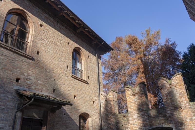 Castle of San Colombano al Lambro, Italy. San Colombano al Lambro, Milan, Lombardy, Italy: exterior of the medieval castle stock image
