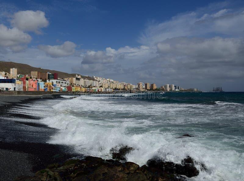 San Cristobal beach, Las Palmas, Gran Canaria. San Cristobal beach with rough sea, coast of  Las Palmas, Gran Canaria, Canary Islands stock image