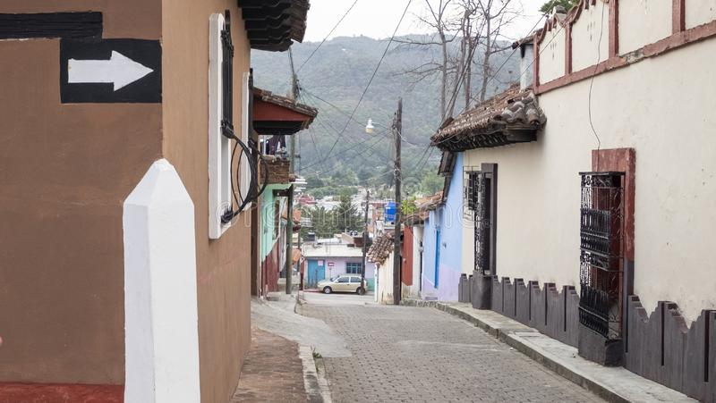 San Cristobal de las Casas, Chiapas, Mexico - March 7th, 2018: street and corner of the colonial town royalty free stock image