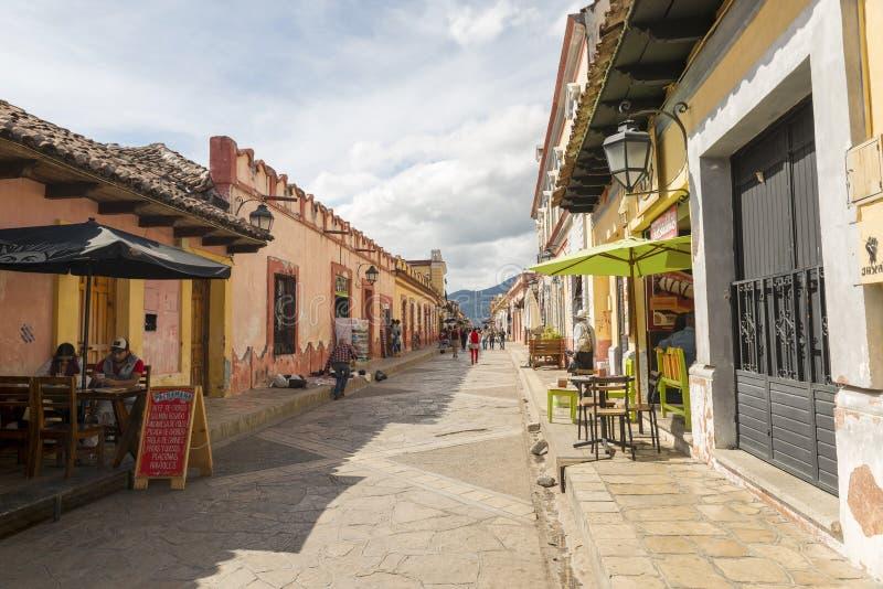 San Cristobal Sidewalk Cafes arkivbild