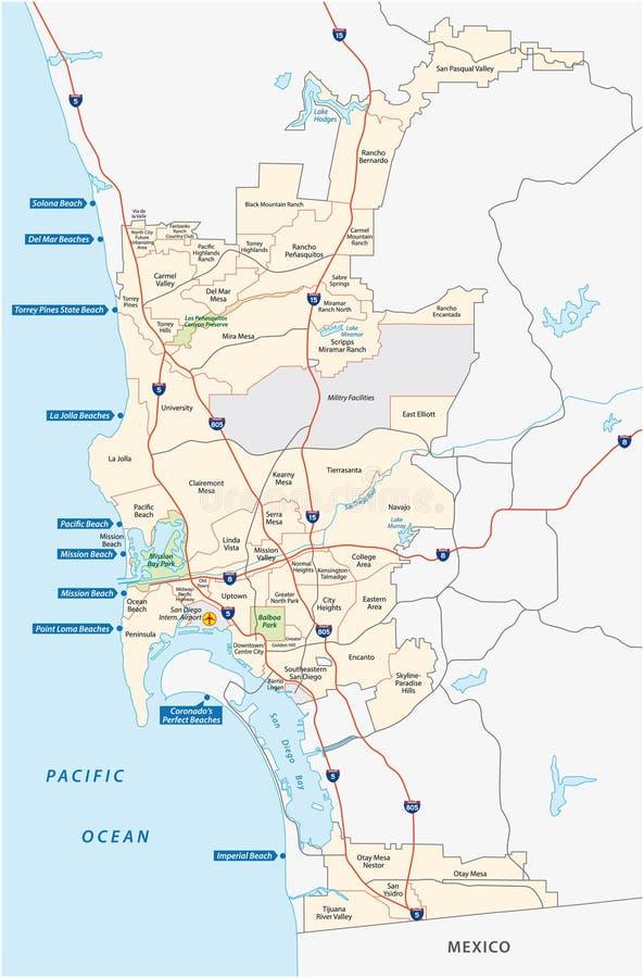 San Diego administratif et carte de plage illustration libre de droits