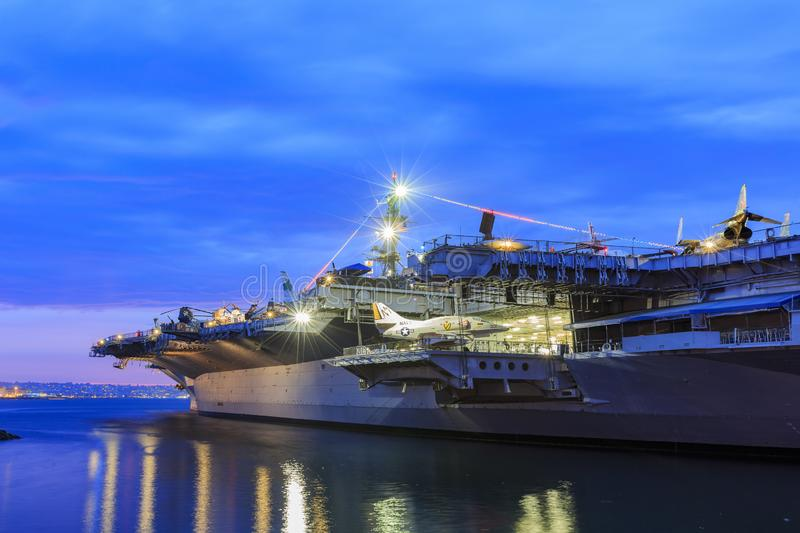 Night view of the famous USS Midway Museum royalty free stock photography