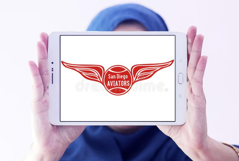 San Diego Aviators tennis team logo. Logo of San Diego Aviators tennis team on samsung tablet holded by arab muslim woman. The San Diego Aviators are a World royalty free stock photography