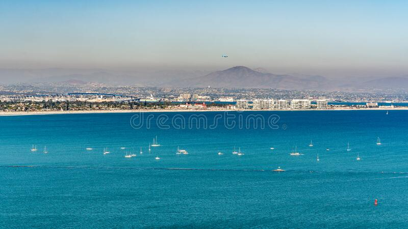 San Diego Bay. Aerial view from Cabrillo National Monunent at Point Loma. California South Coast royalty free stock photo