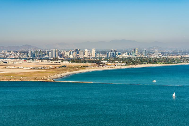San Diego Bay. Aerial view from Cabrillo National Monunent. At Point Loma, California South Coast royalty free stock photography