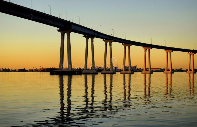 San Diego Bay Sunrise. The Coronado San Diego Bay Bridge in San Diego California at sunrise on a clear day royalty free stock image