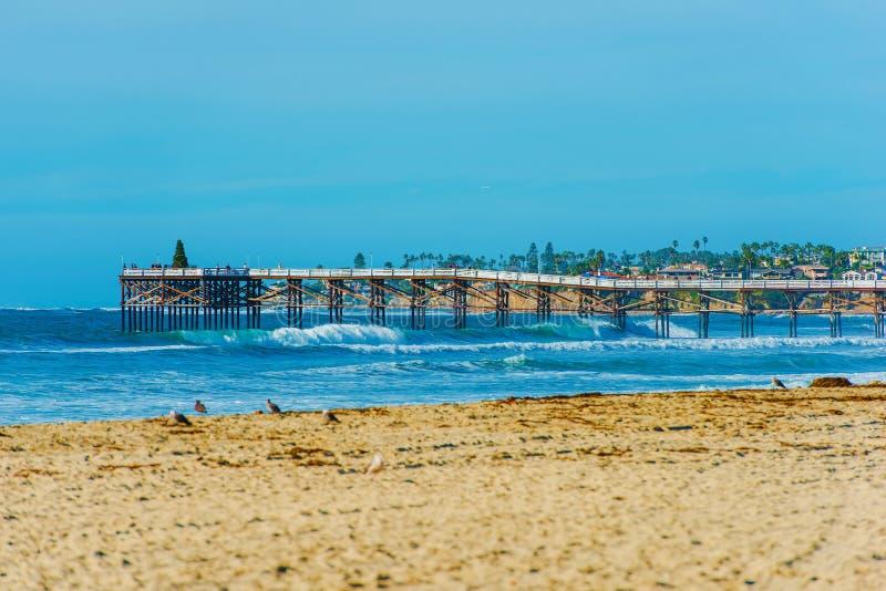 San Diego Beach y embarcadero foto de archivo