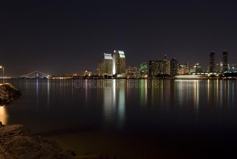 San Diego bij Nacht stock afbeeldingen