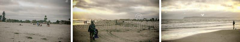 SAN DIEGO, CA - 30 DE JULIO DE 2017: Turistas a lo largo de la playa de Coronado encendido imagenes de archivo