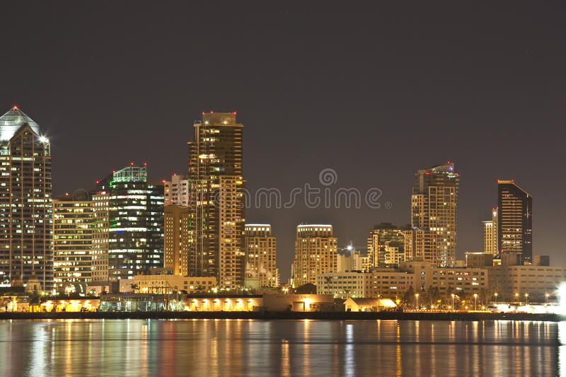 Download San Diego CA Skyline At Night Stock Image - Image of water, skyline: 10795073