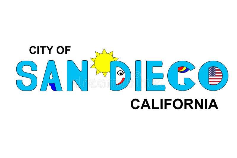 San Diego - Califórnia, inscrição abstrata no azul ilustração stock