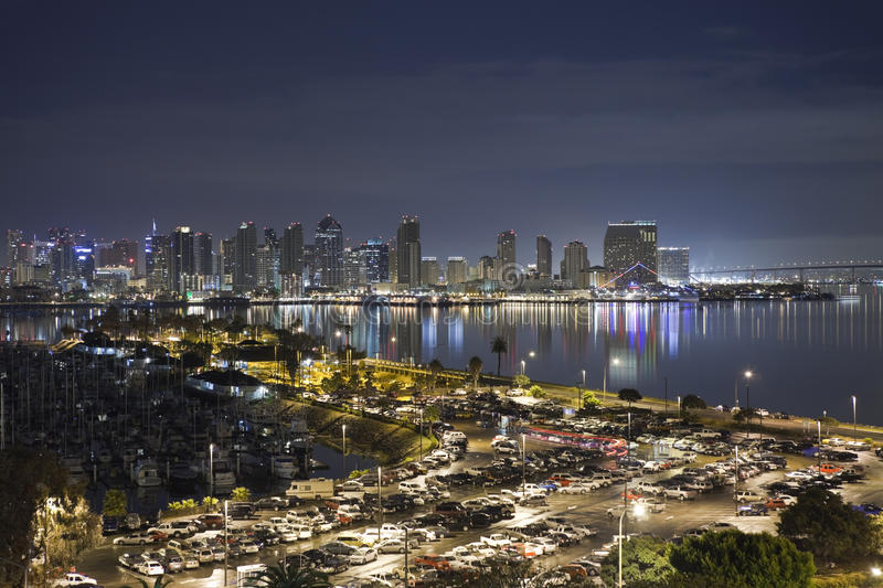 San Diego California. San Diego, California, USA - March, 24TH 2011: San Diego bay and it's downtown towers glow bightly at night stock photography