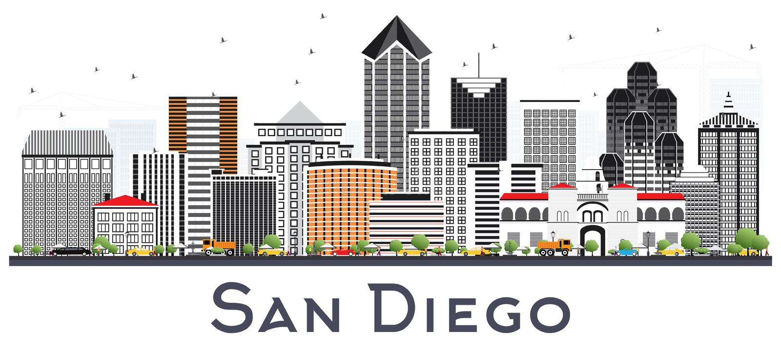 San Diego California City Skyline com Gray Buildings Isolated o ilustração stock