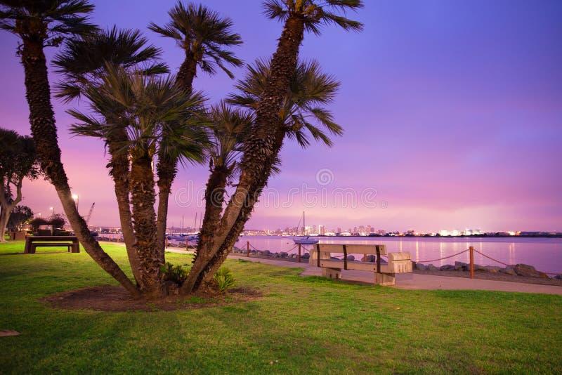 San Diego California horisont och fjärd som ses på natten fotografering för bildbyråer