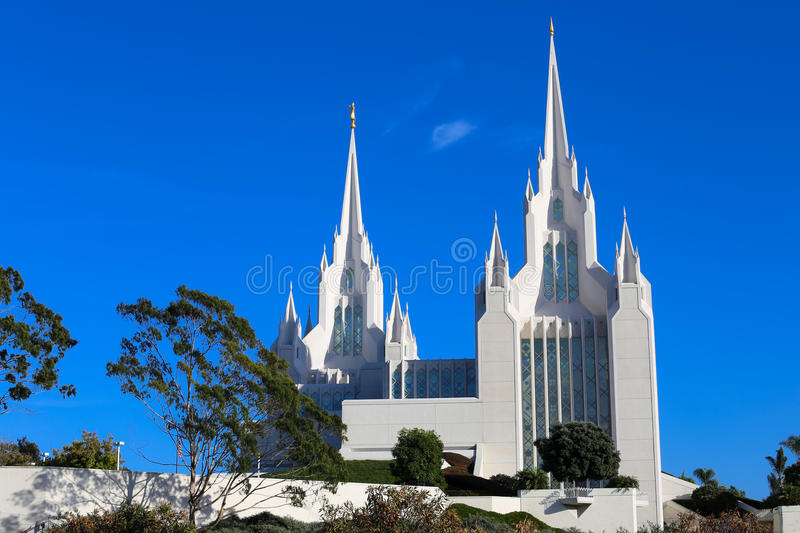San Diego California LDS (Mormon) Temple. Portion the two towers, as seen from neighboring freeway, of the San Diego California LDS or Mormon Temple which is royalty free stock photography