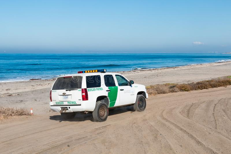 Border Patrol Vehicle Patrols Beach at Border Field State Park in San Diego stock photos