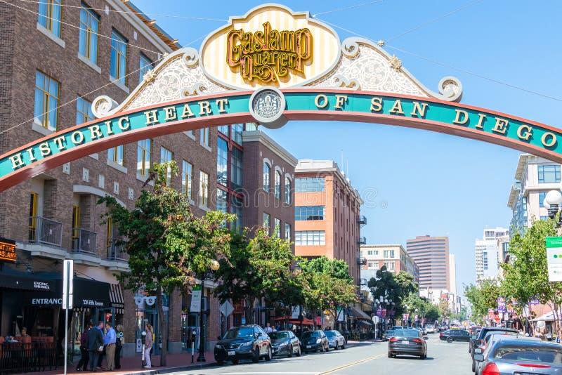 Entrance to Gaslamp Quarter in San Diego California stock image