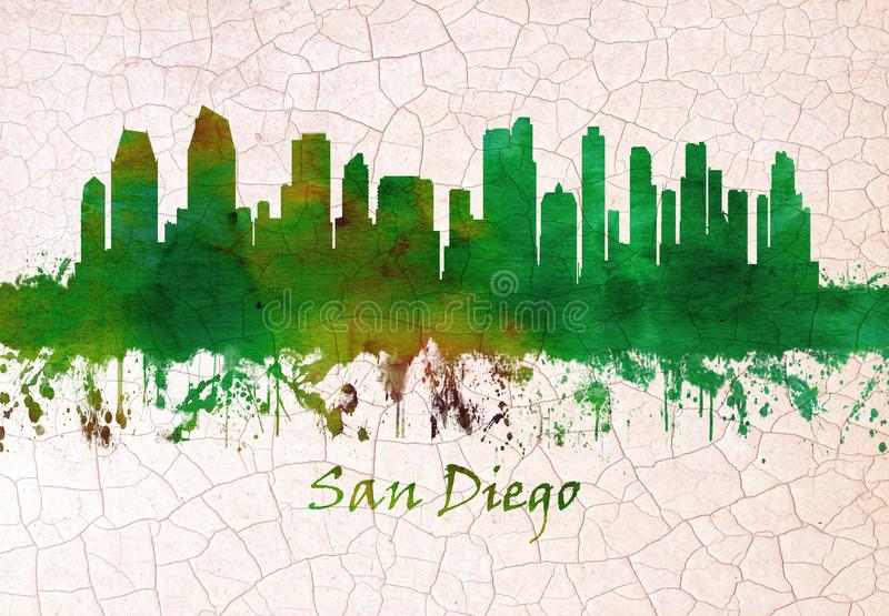 San Diego California skyline stock illustration