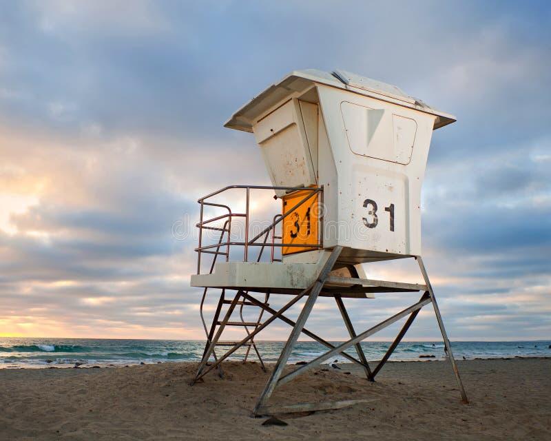 San Diego California, USA beach lifeguard house. At sunset stock photos