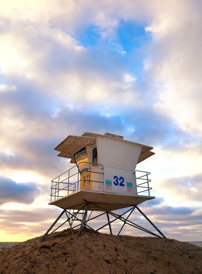 San Diego California, USA beach lifeguard house. At sunset royalty free stock photo
