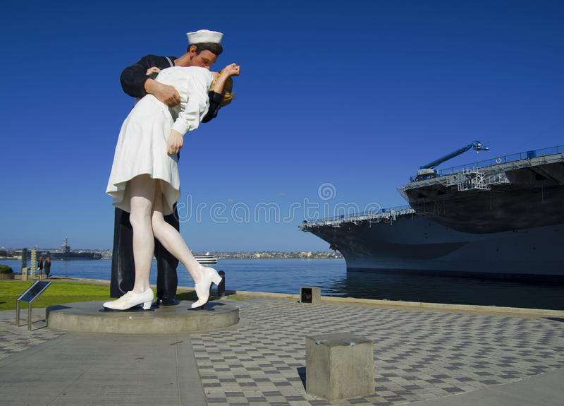 SAN DIEGO, California, USA - March 13, 2016: Kiss statue in San Diego harbour, USA royalty free stock photo