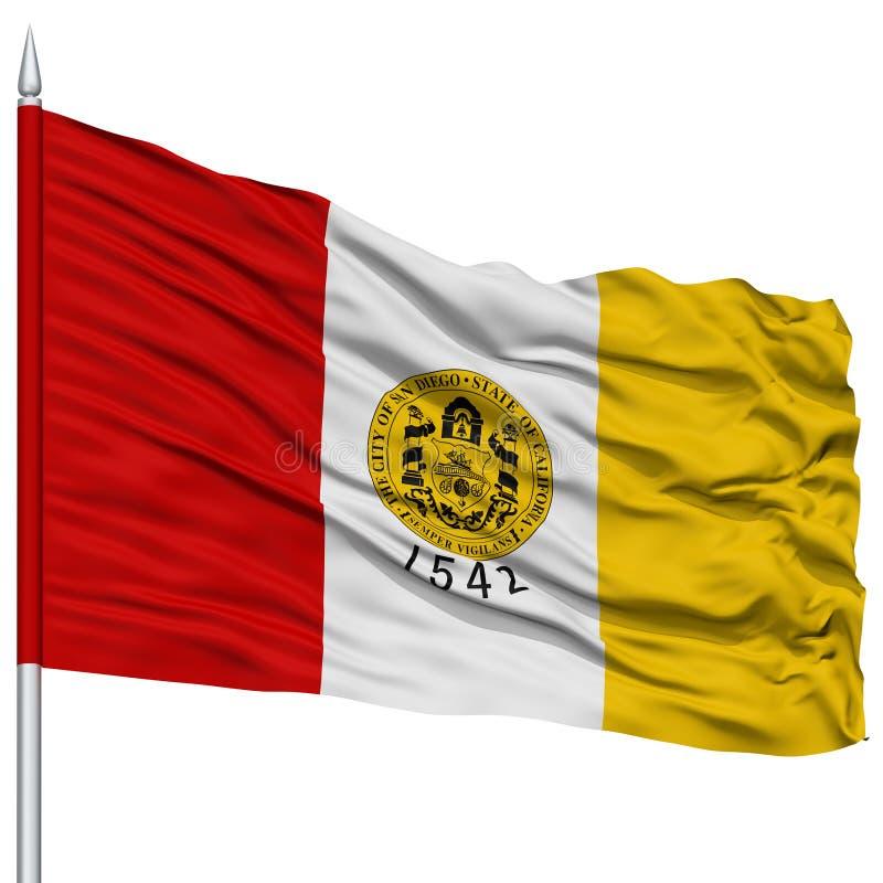 San Diego City Flag no mastro de bandeira, EUA ilustração do vetor