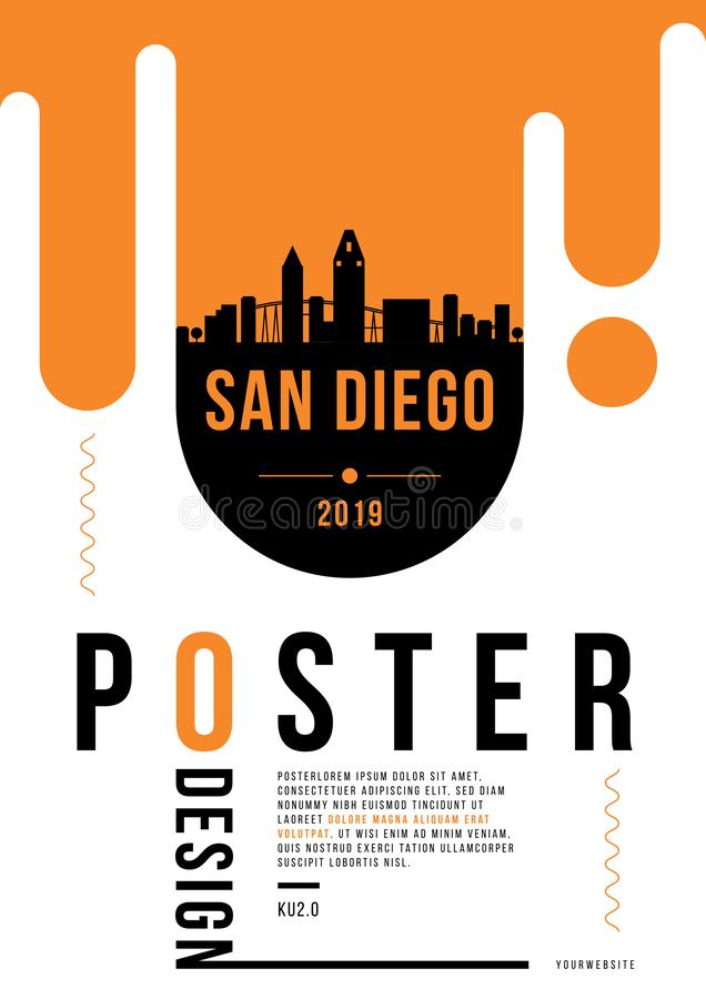 San Diego City Modern Skyline Vector Template royalty free illustration