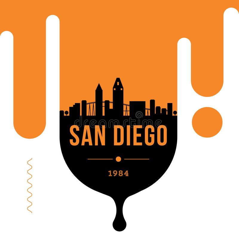San Diego City Modern Skyline Vector Template stock illustration